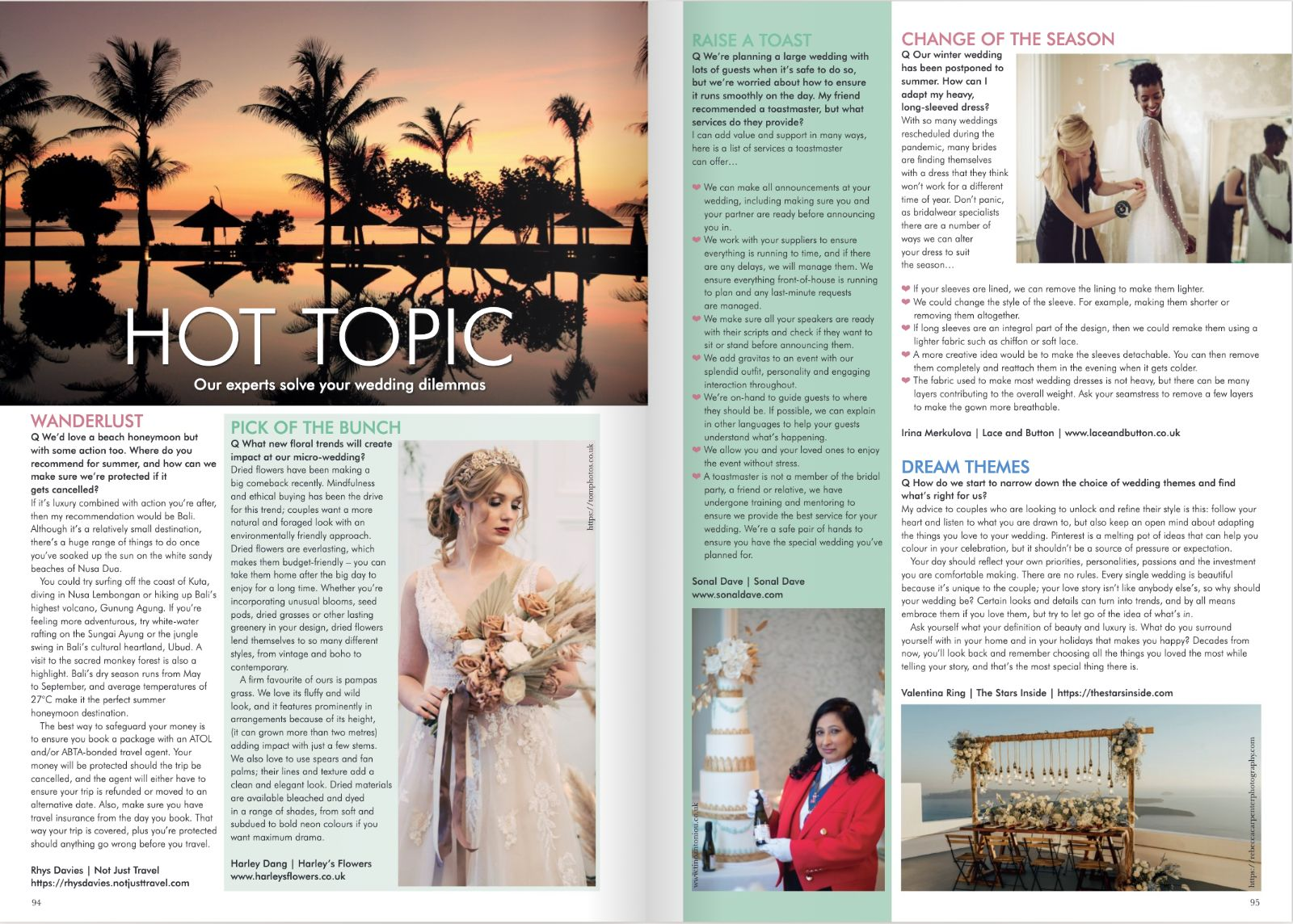 your london wedding press coverage article