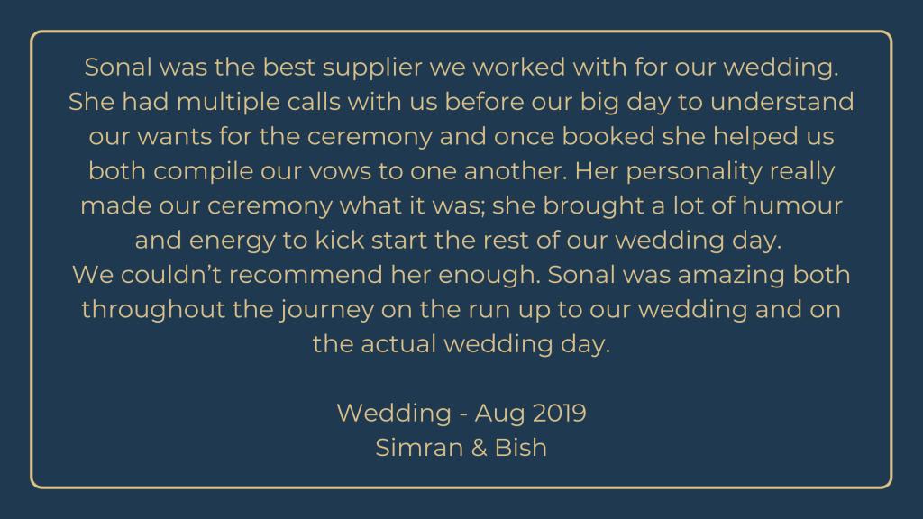 Celebrant wedding testimonial
